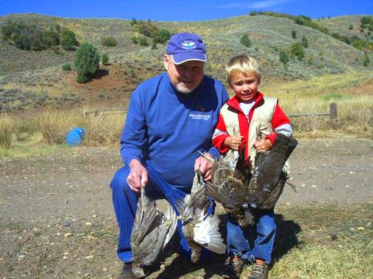 Blue Grouse, kids and grandpa (David Anderson)