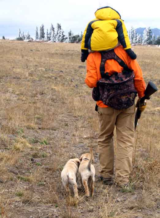 Grouse hunting with kids and puppies