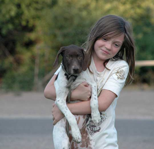 good puppies for kids. Kids and Dogs - German Shorthair puppy and Sarah